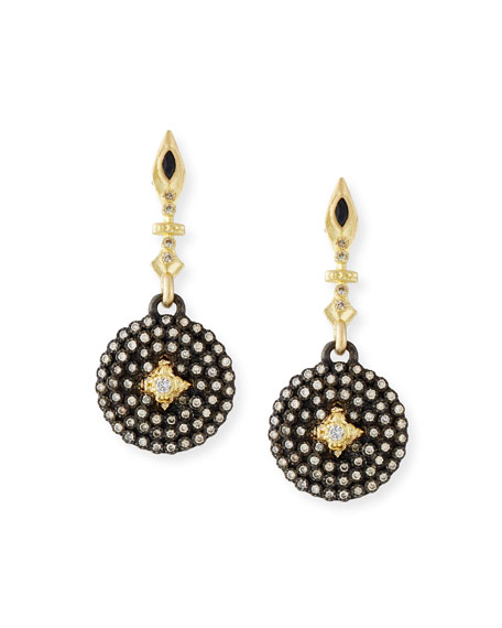 Old World Midnight Small Shield Earrings with Champagne Diamonds