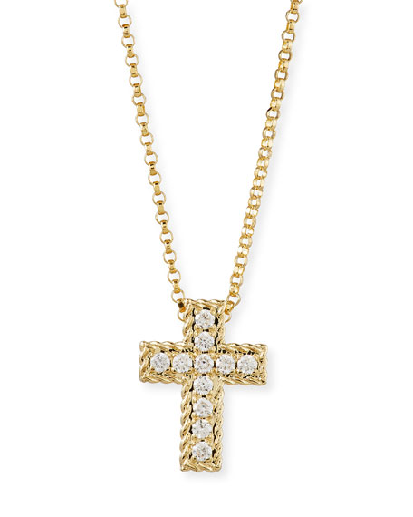 Roberto Coin Diamond Cross Pendant Necklace in 18K