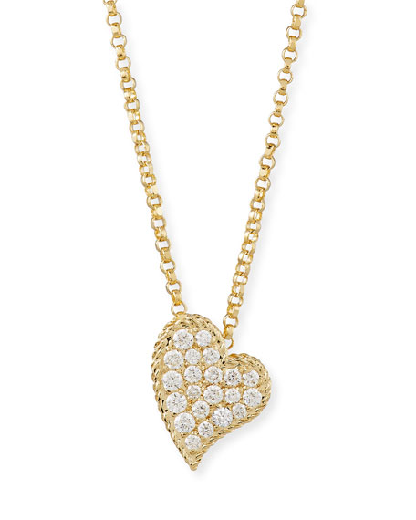 Roberto Coin 18k Pave Diamond Slanted Heart Necklace