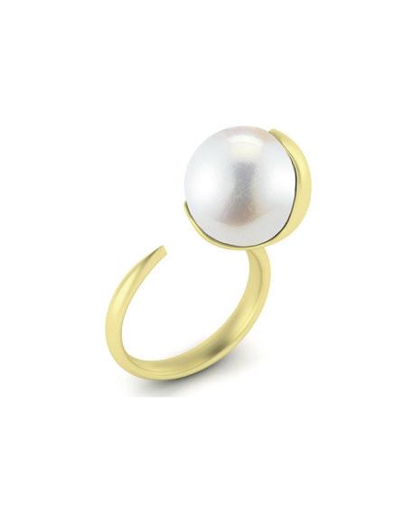 Mizuki 12mm Fluid Open White Pearl Ring, Size 6