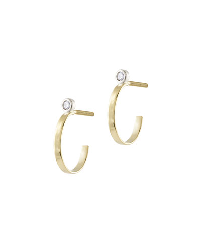 Girls' Diamond Huggie Hoop Earrings