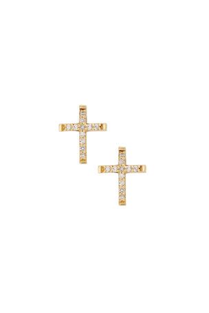 LANA GIRL BY LANA JEWELRY Girls' Diamond Cross Stud Earrings