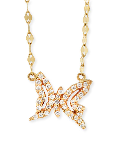 LANA GIRL Girls' Diamond Butterfly Pendant Necklace in Gold