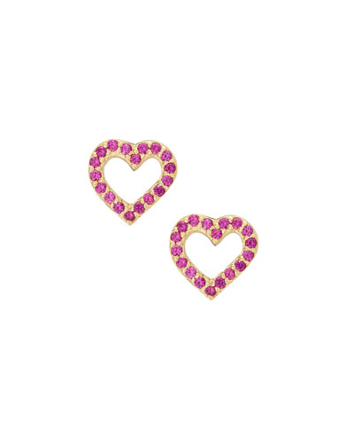 Girls' Pink Sapphire Heart Stud Earrings