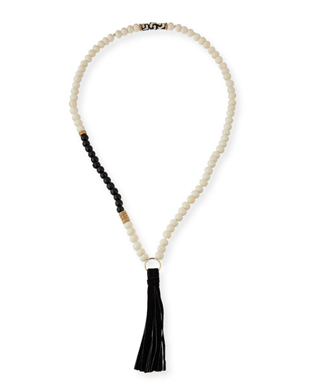 Akola Long Beaded Bone & Suede Tassel Necklace