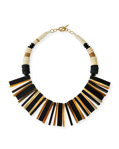 Wood, Bone & Stick Fringe Necklace