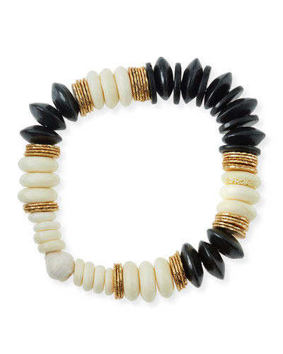 Alternating Beaded Bone & Wood Bracelet