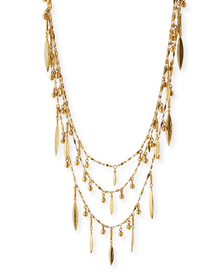 Sequin Multilayer Golden Beaded Necklace