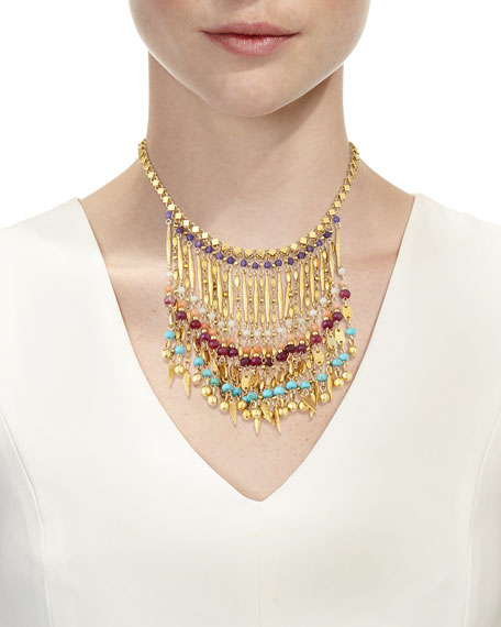 Image 2 of 2: Bold Multicolor Beaded Statement Necklace