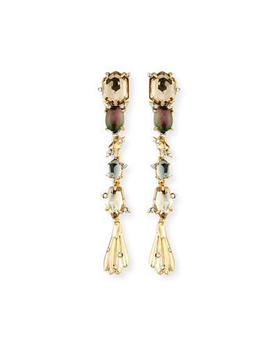 Crystal Studded Dangling Drop Earrings