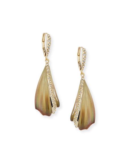 Crystal-Encrusted Sculptural Drop Earrings