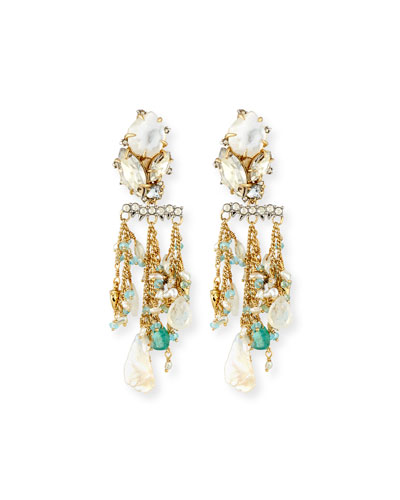 Beaded Moonstone Statement Earrings