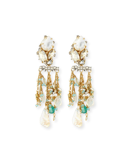 Alexis Bittar Beaded Moonstone Statement Earrings