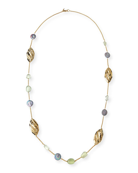 """Peacock Pearly Station Necklace, 42"""""""