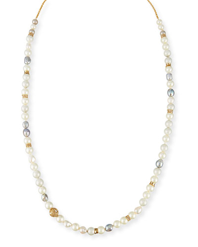 Pearly Single-Strand Layering Necklace, 42