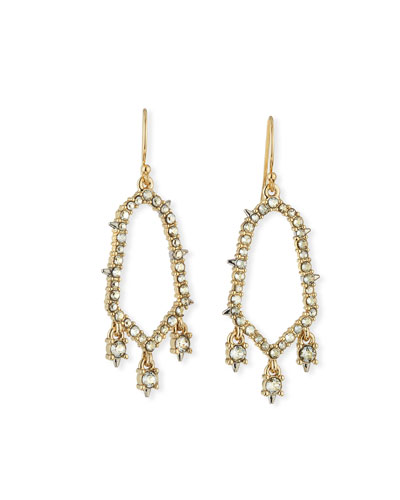 Crystal-Encrusted Open Drop Earrings
