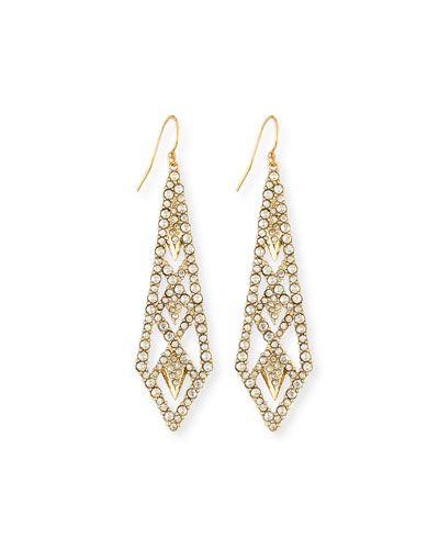 Crystal-Encrusted Drop Earrings, Golden