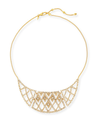 Crystal-Encrusted Bib Necklace, Golden