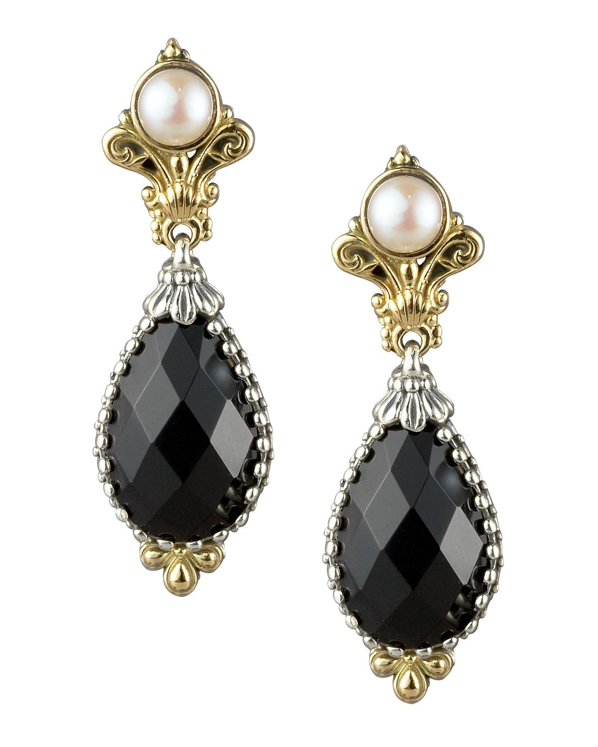 Onyx Pearl Drop Earrings