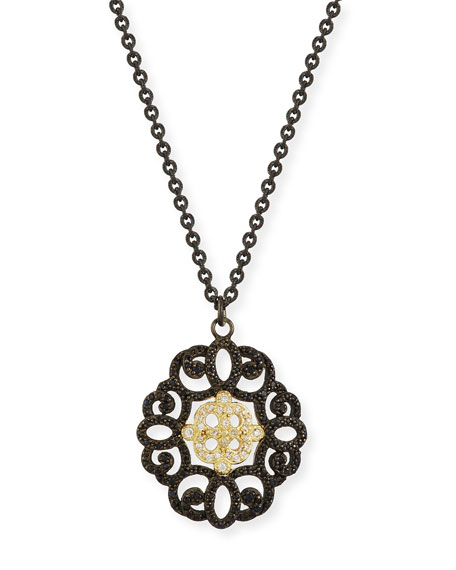 Armenta Old World Filigree Pendant Necklace with Diamonds
