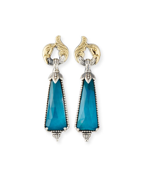 Long Chrysocolla Doublet Drop Earrings