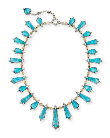 Chrysocolla Doublet Staggered Station Necklace, 16""