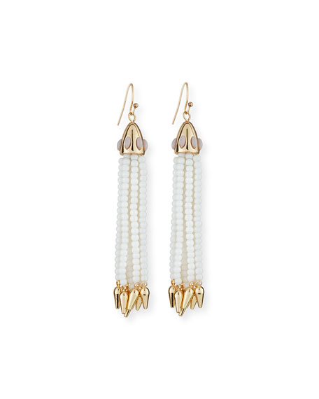 Lulu Frost Beaded White Tassel Drop Earrings