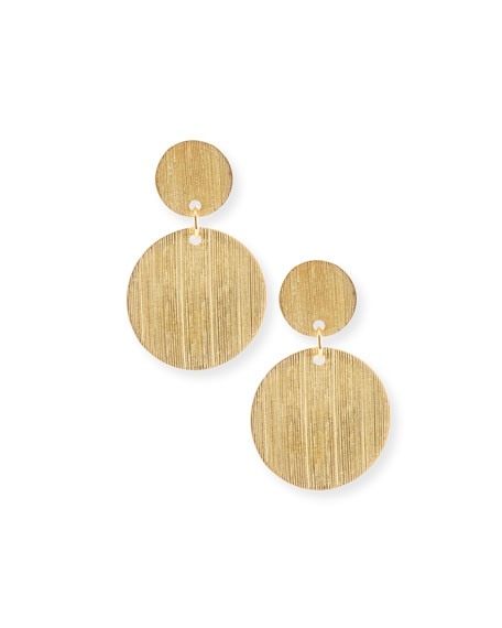 NEST Jewelry Brushed 22K Gold Disc Drop Earrings Neiman Marcus