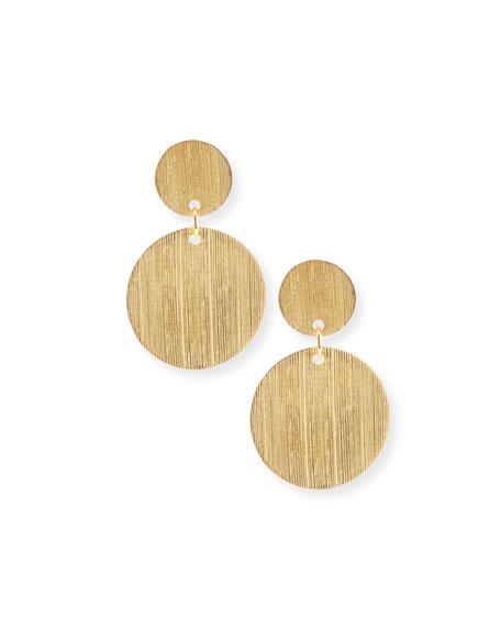 Brushed 22K Gold Disc Drop Earrings