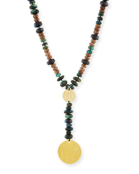 Beaded Y-Drop Medallion Necklace