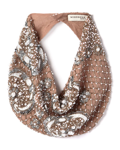 Le Charlot Beaded Scarf Necklace  Nude