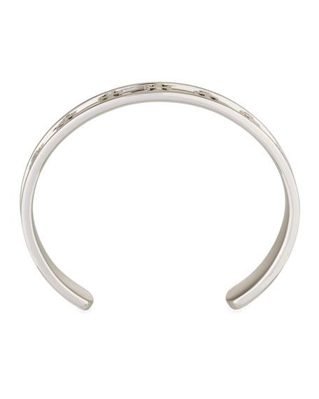 Raised Logo Cuff Bracelet in Silvertone Brass