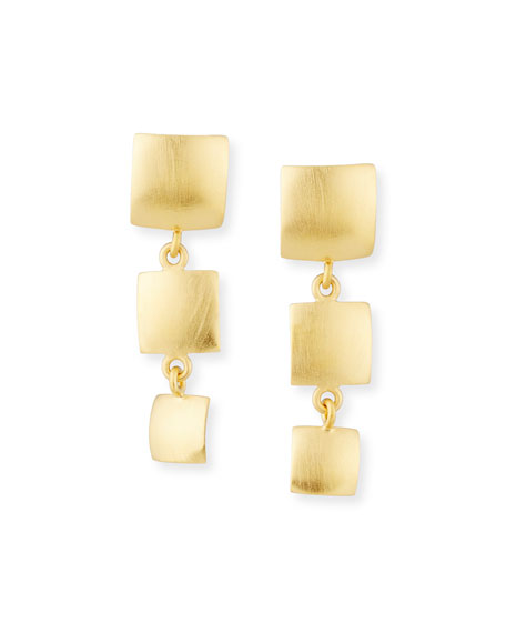 Dina Mackney Triple-Drop 18K Gold-Plated Earrings