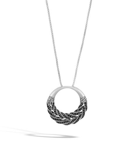 Classic Chain Black Sapphire Circle Pendant Necklace