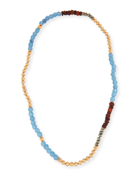 Akola Long Beaded Necklace, Blue/Brown