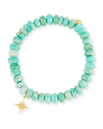 7mm Beaded Amazonite Bracelet with Diamond Starburst Charm