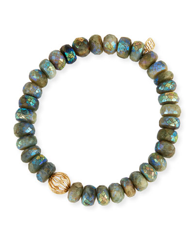 Mystic Dark Aqua Beaded Bracelet with Diamond Bezel Ball Charm