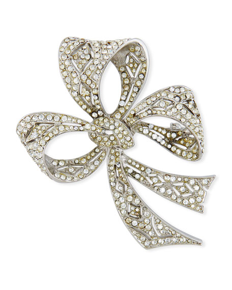 Kenneth Jay Lane Crystal Bow Pin