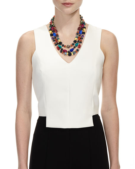 Jose & Maria Barrera Three-Strand Mixed Bead Necklace