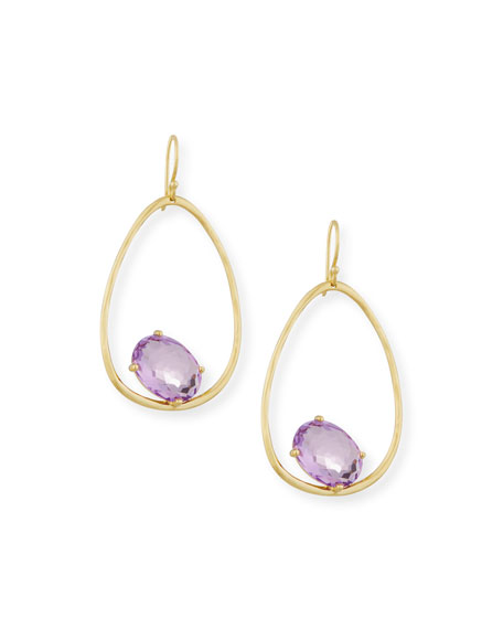 18K Rock Candy Tipped Oval Wire Earrings in Amethyst