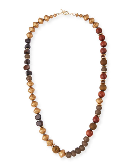 Akola Beaded Tassel Necklace, Blue/Brown
