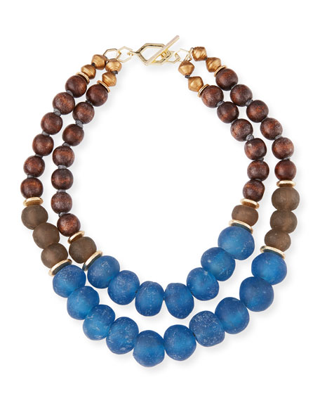 Akola Two-Strand Wooden Bead Necklace