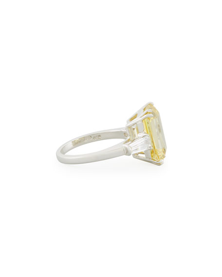 Fantasia by DeSerio Emerald-Cut Yellow CZ Ring with Tapered Baguettes