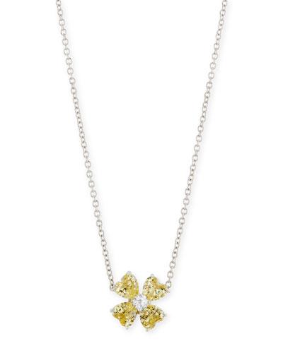 Yellow CZ Clover Pendant Necklace