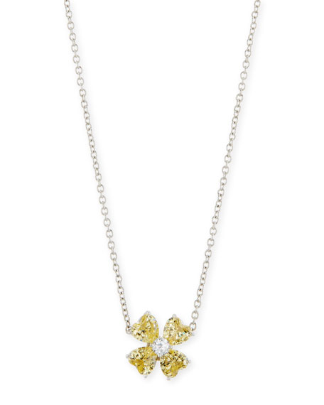 Fantasia by DeSerio Yellow CZ Clover Pendant Necklace
