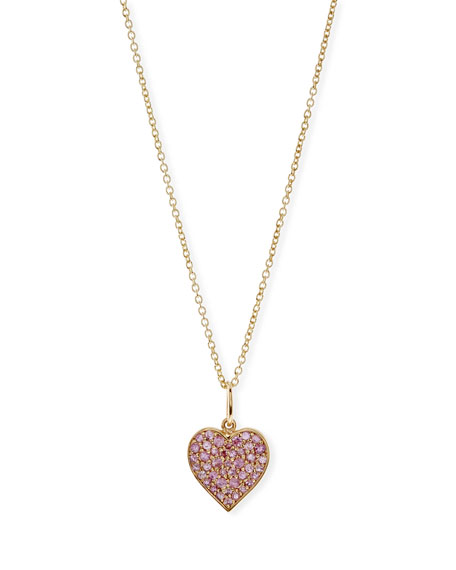 Sydney Evan Anniversary Pink Sapphire Heart Pendant Necklace