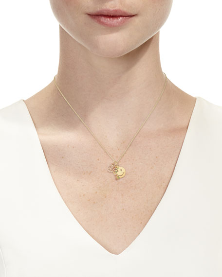 Sydney Evan Peace, Love & Happiness Charm Necklace with Diamonds & Sapphires