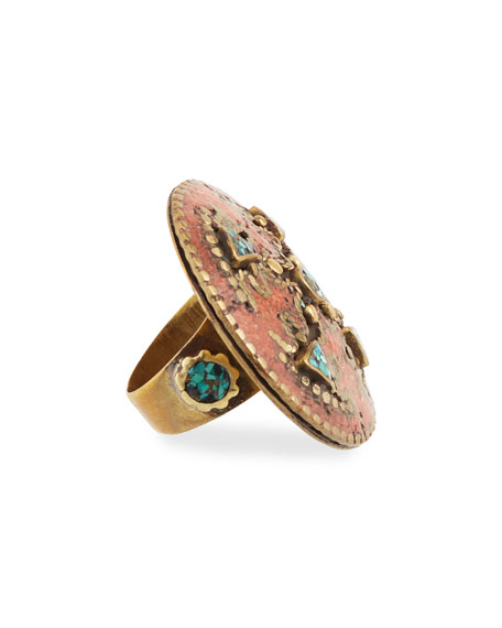 Antiqued Turquoise & Coral Statement Ring