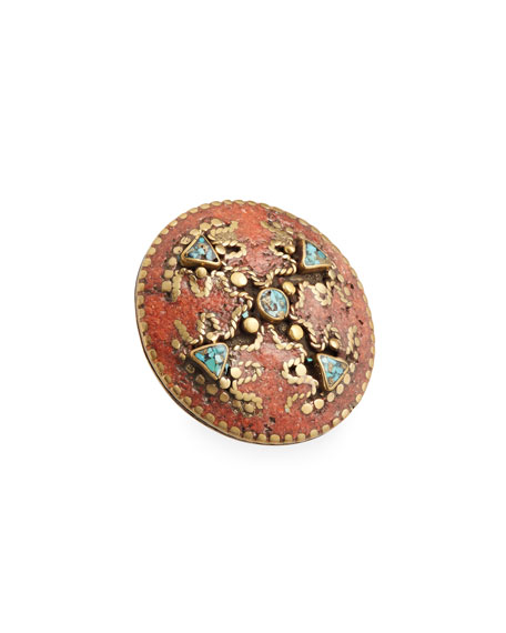 Devon Leigh Antiqued Turquoise & Coral Statement Ring