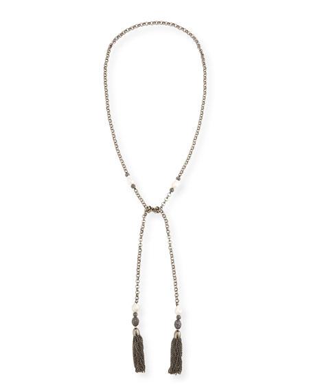 Hipchik Courtney Chain Tassel Lariat Necklace